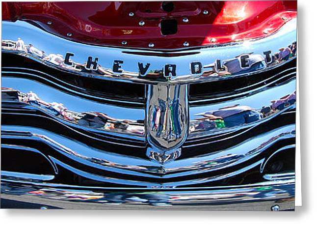 Panoramic Chevy Grill Greeting Card