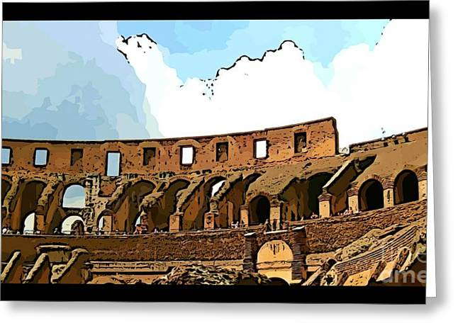 Panoramic Graphic Of The Roman Colisseum Greeting Card by John Malone