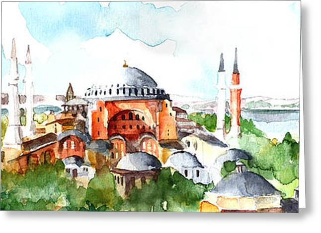 Panoramic Hagia Sophia In Istanbul Greeting Card