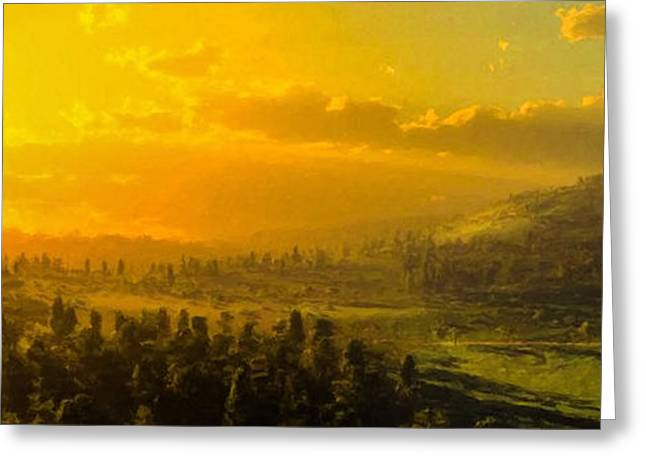 Panoramic Hillside Greeting Card by Lonnie Christopher