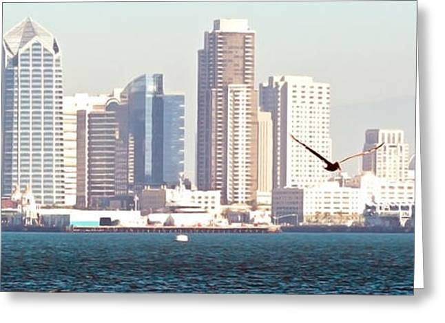 Panoramic Image Of San Diego From The Harbor Greeting Card