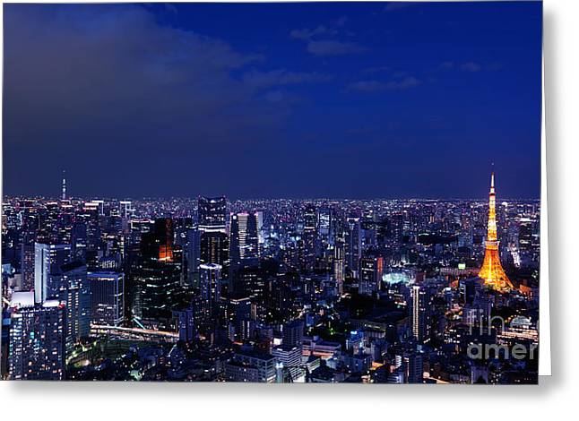 Panoramic Nighttime Scenery Of Tokyo Tower In Cityscape Greeting Card by Oleksiy Maksymenko