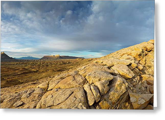Panoramic Of Factory Butte, The Henry Greeting Card