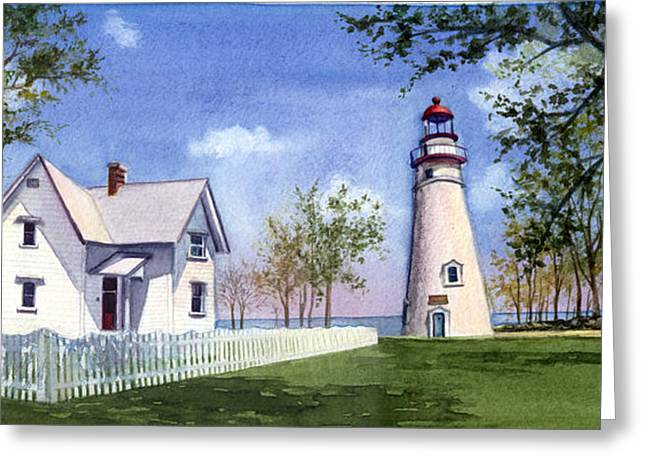 Panoramic Of Marblehead Greeting Card by Terri  Meyer
