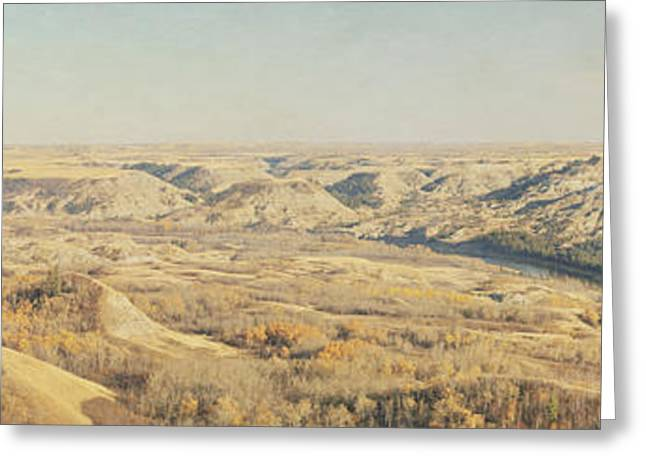 Panoramic Of The Badlands Of The Red Greeting Card by Roberta Murray