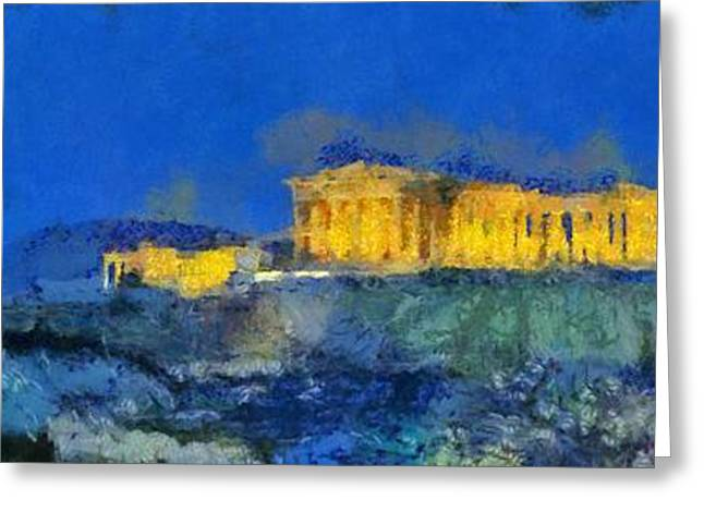 Panoramic Painting Of Acropolis In Athens Greeting Card