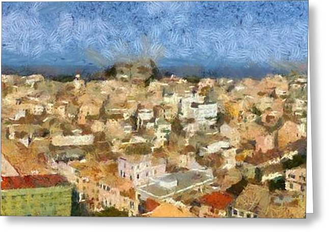 Panoramic Painting Of The Old City Of Corfu Greeting Card by George Atsametakis