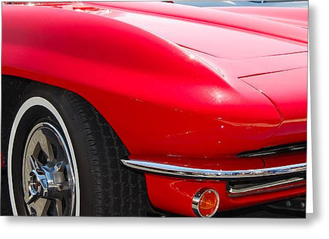 panoramic red Corvette Greeting Card