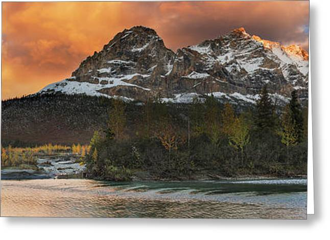 Panoramic Scenic Of Mt. Sukakpak Greeting Card by Carl Johnson