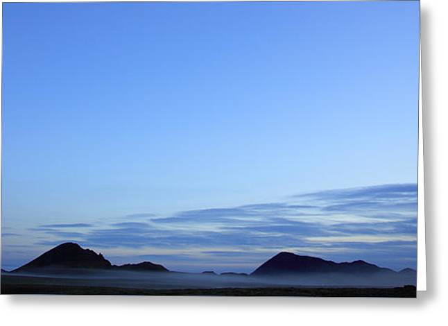 Panoramic Silhouetted Misty Landscape Greeting Card by Deborah Benbrook