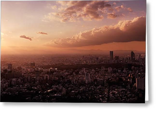 Panoramic Sunset Scenery Of Tokyo Greeting Card by Oleksiy Maksymenko