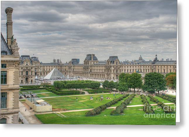 Panoramic View Musee Du Louvre Greeting Card by Malu Couttolenc