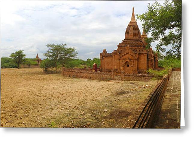 Greeting Card featuring the photograph Panoramic View Next To Dhammayazika Pagoda Built In 1196 By King Narapatisithu by Ralph A  Ledergerber-Photography