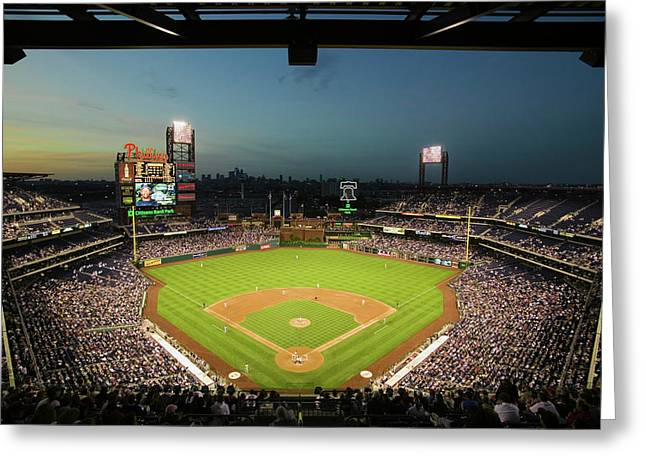 Panoramic View Of 29,183 Baseball Fans Greeting Card
