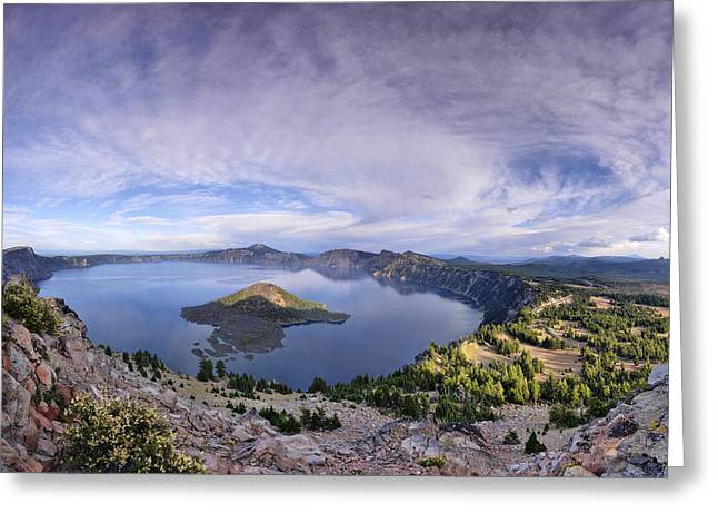 Panoramic View Of Crater Lake And Wizard Island Greeting Card by Sebastien Coursol