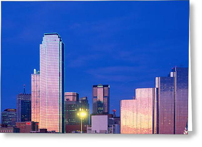 Panoramic View Of Dallas, Tx Skyline Greeting Card by Panoramic Images