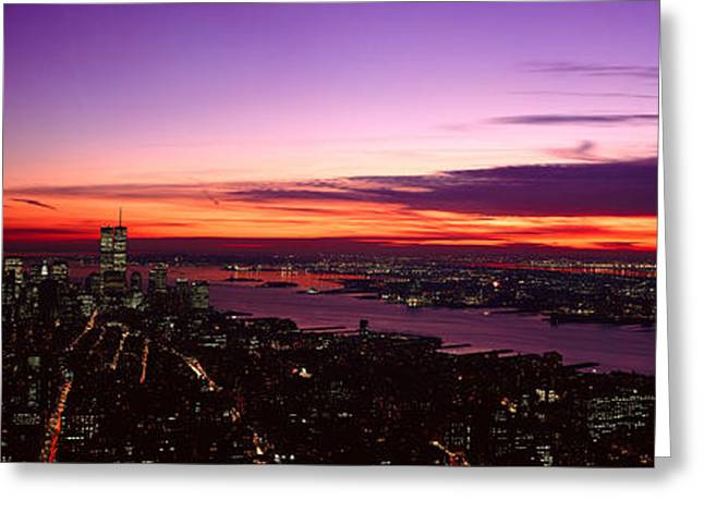 Panoramic View Of Empire State Greeting Card by Panoramic Images