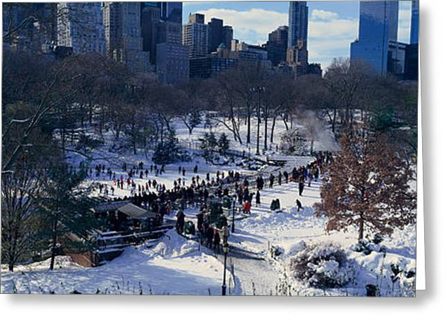 Panoramic View Of Ice Skating Wollman Greeting Card by Panoramic Images