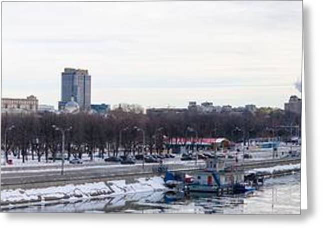 Panoramic View Of Moscow Gorky Park In Wintertime Greeting Card by Alexander Senin
