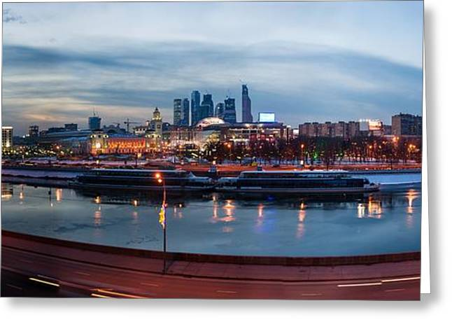 Panoramic View Of Moscow River - Kiev Railway Station And Square Of Europe - Featured 3 Greeting Card by Alexander Senin