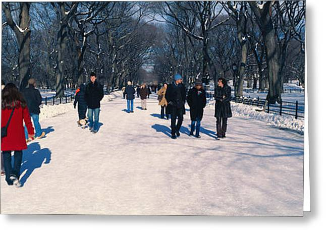 Panoramic View Of Pedestrians Walking Greeting Card by Panoramic Images