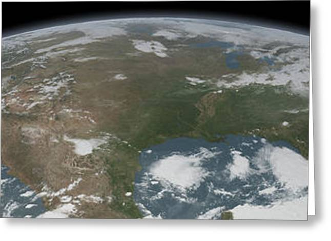 Panoramic View Of Planet Earth Greeting Card by Stocktrek Images