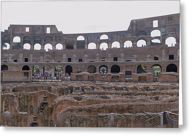 Panoramic View Of The Colosseum Greeting Card by Allan Levin