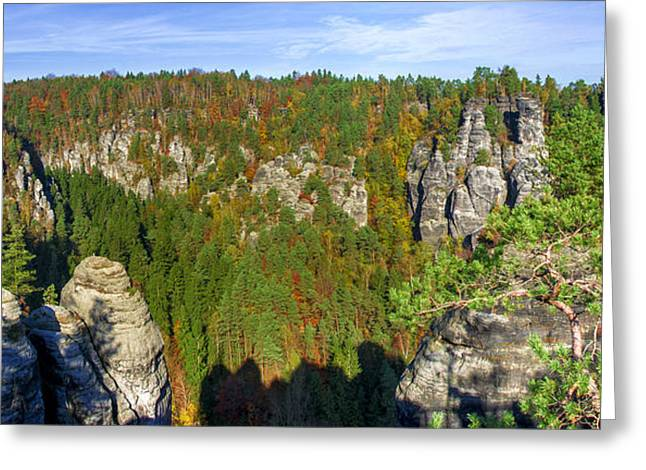 Panoramic View Of The Elbe Sandstone Mountains Greeting Card