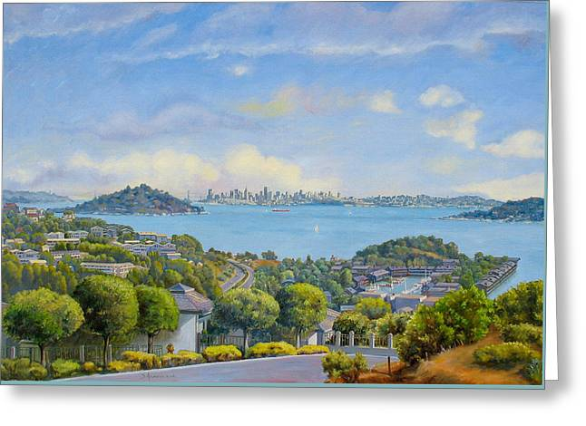 Panoramic View Of Tiburon- Large Greeting Card by Dominique Amendola