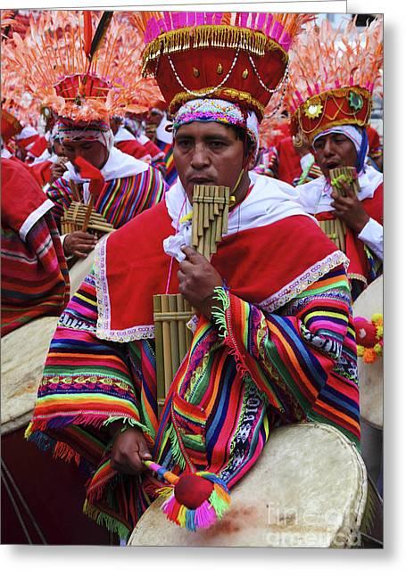 Panpipe Musician Peru Greeting Card by James Brunker