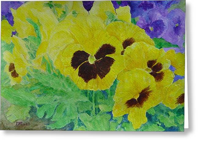 Pansies Colorful Flowers Floral Garden Art Painting Bright Yellow Pansy Original  Greeting Card