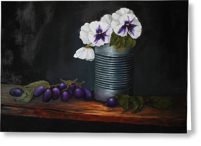 Pansies In Tin Can Greeting Card