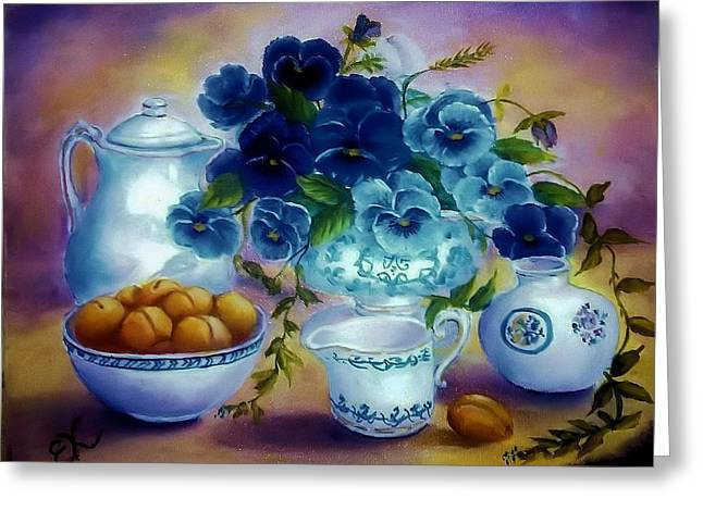 Pansies Of Blue Greeting Card by Fineartist Ellen