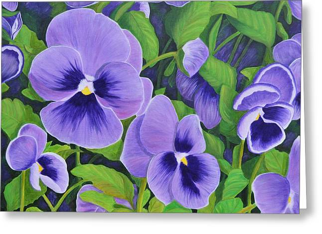 Pansies Schmanzies Greeting Card by Donna  Manaraze