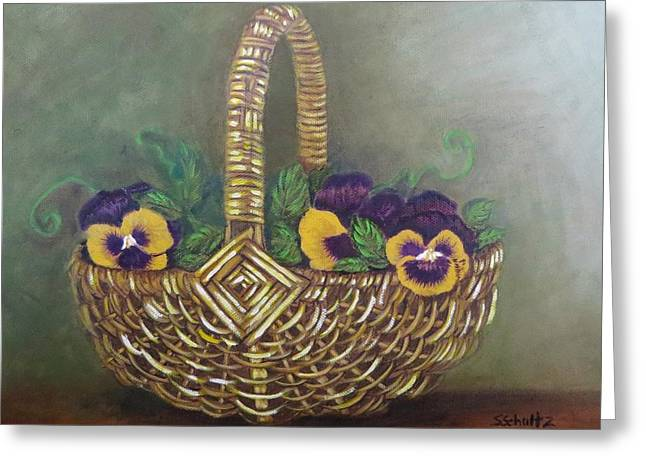 Pansy Basket Sherry Nelson Study Greeting Card