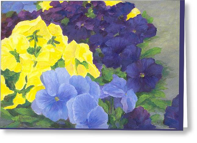 Pansy Garden Bright Colorful Flowers Painting Pansies Floral Art Artist K. Joann Russell Greeting Card