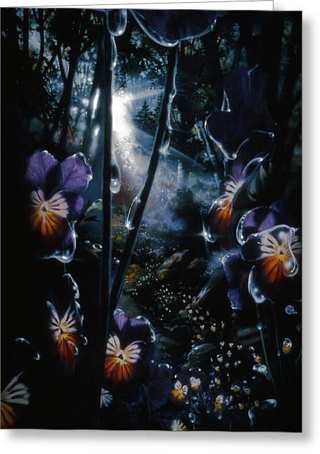 Pansy Path Greeting Card by Lynette Yencho