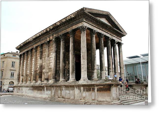 Pantheon Nimes Greeting Card by Christiane Schulze Art And Photography