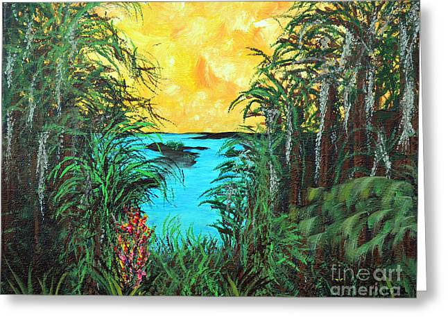 Greeting Card featuring the painting Panther Island In The Bayou by Alys Caviness-Gober