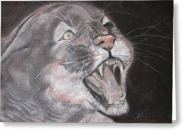 Panther Greeting Card by Rebecca Wiltfong Frisbee