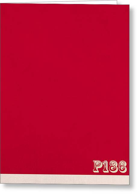 Pantone 186 Fire Engine Red Color On Worn Canvas Greeting Card by Design Turnpike