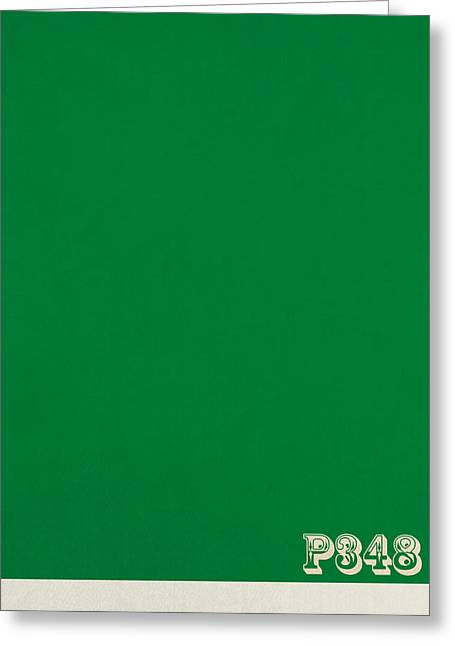 Pantone 348 Forest Green Color On Worn Canvas Greeting Card