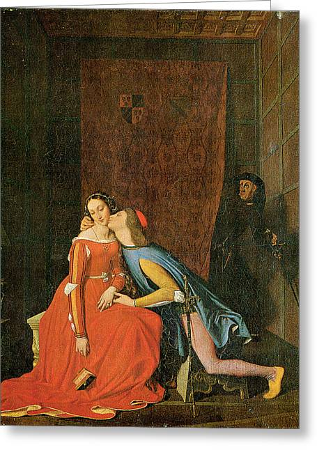 Paolo And Francesca Greeting Card by Jean-Auguste-Dominique Ingres