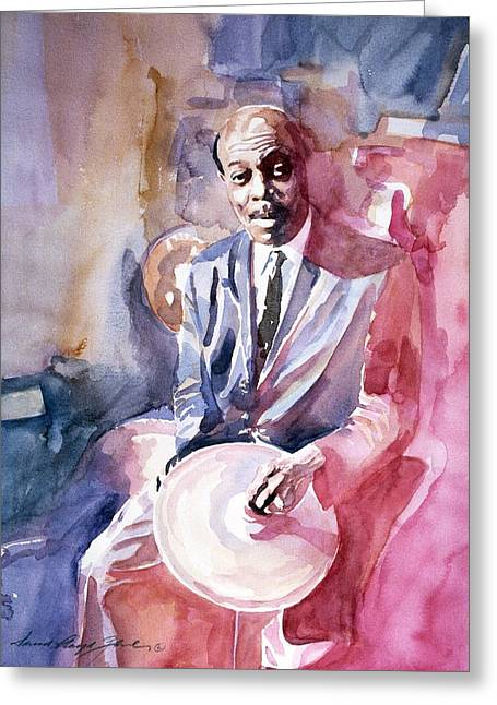 Papa Jo Jones Jazz Drummer Greeting Card by David Lloyd Glover