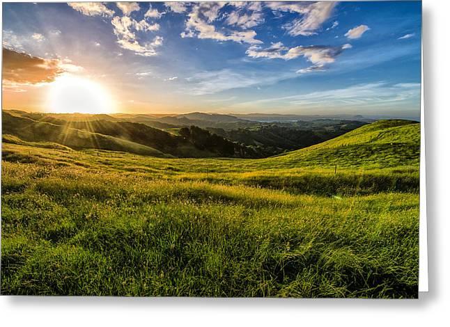 Papamoa Hills Sunset Greeting Card