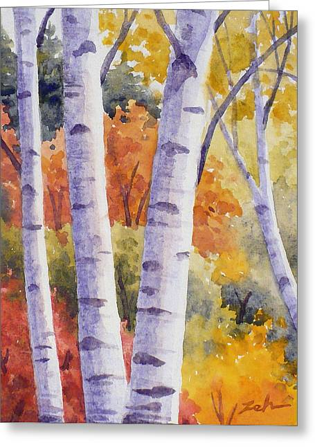 Paper Birches In Autumn Greeting Card