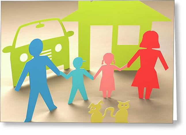 Paper Family With House Greeting Card by Ktsdesign