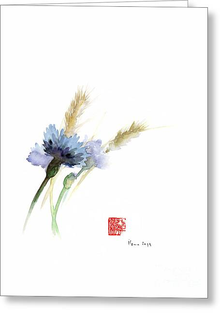 Paper Field Cornflower Cornflowers Blue Yellow Green Watercolor Painting Greeting Card