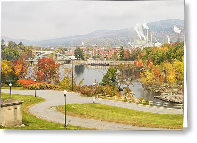 Paper Mill And Fall Colors In Rumford Maine Greeting Card by Keith Webber Jr