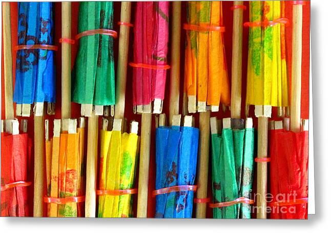 Paper Parasols Greeting Card by Ranjini Kandasamy